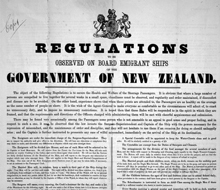 Regulations to be observed on board emigrant ships of the Government of New Zealand. 1873. Ref: Eph-D-SHIP-1873-01, Alexander Turnbull Library.